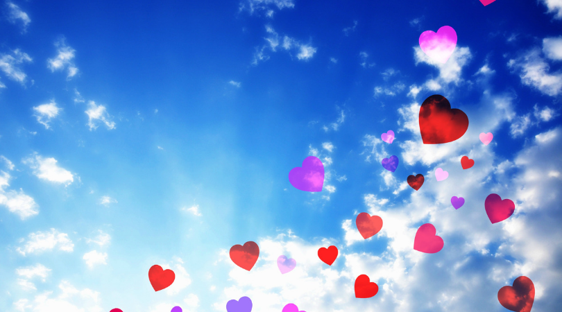 love hearts in the sky