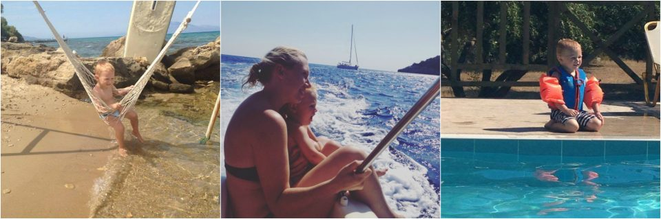 mum and child on a boat in Zante