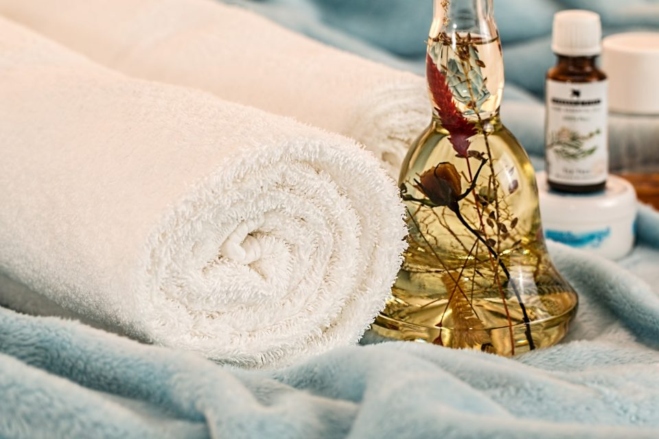 towels and massage oil