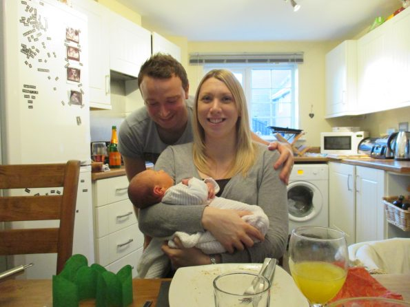 me and Rob with baby Jake having a christmas dinner