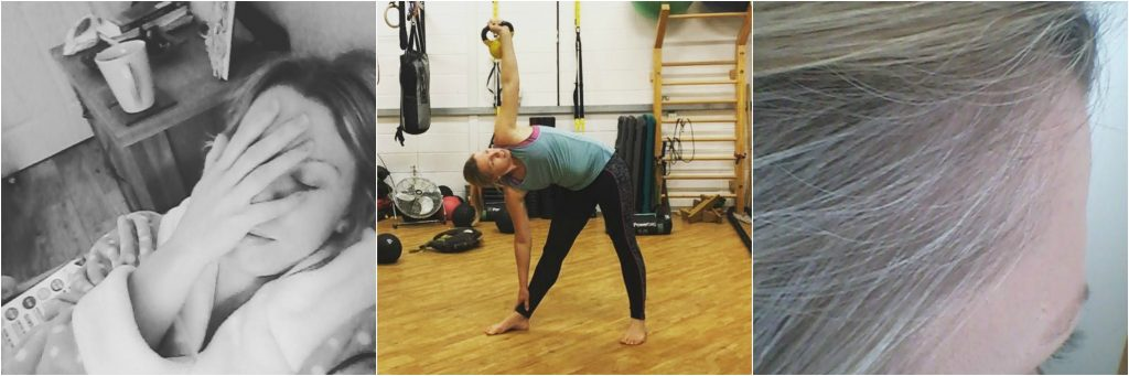 3 photos, one of lady hand on face, one of lady with kettlebell, one of grey hair