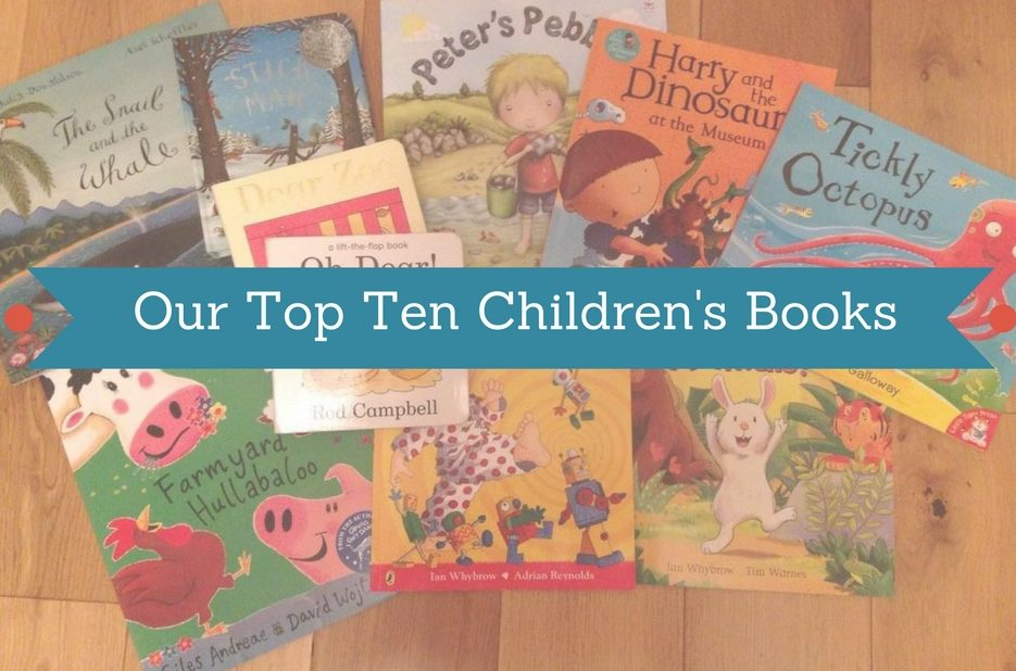 our top ten children's books writing across an image of books