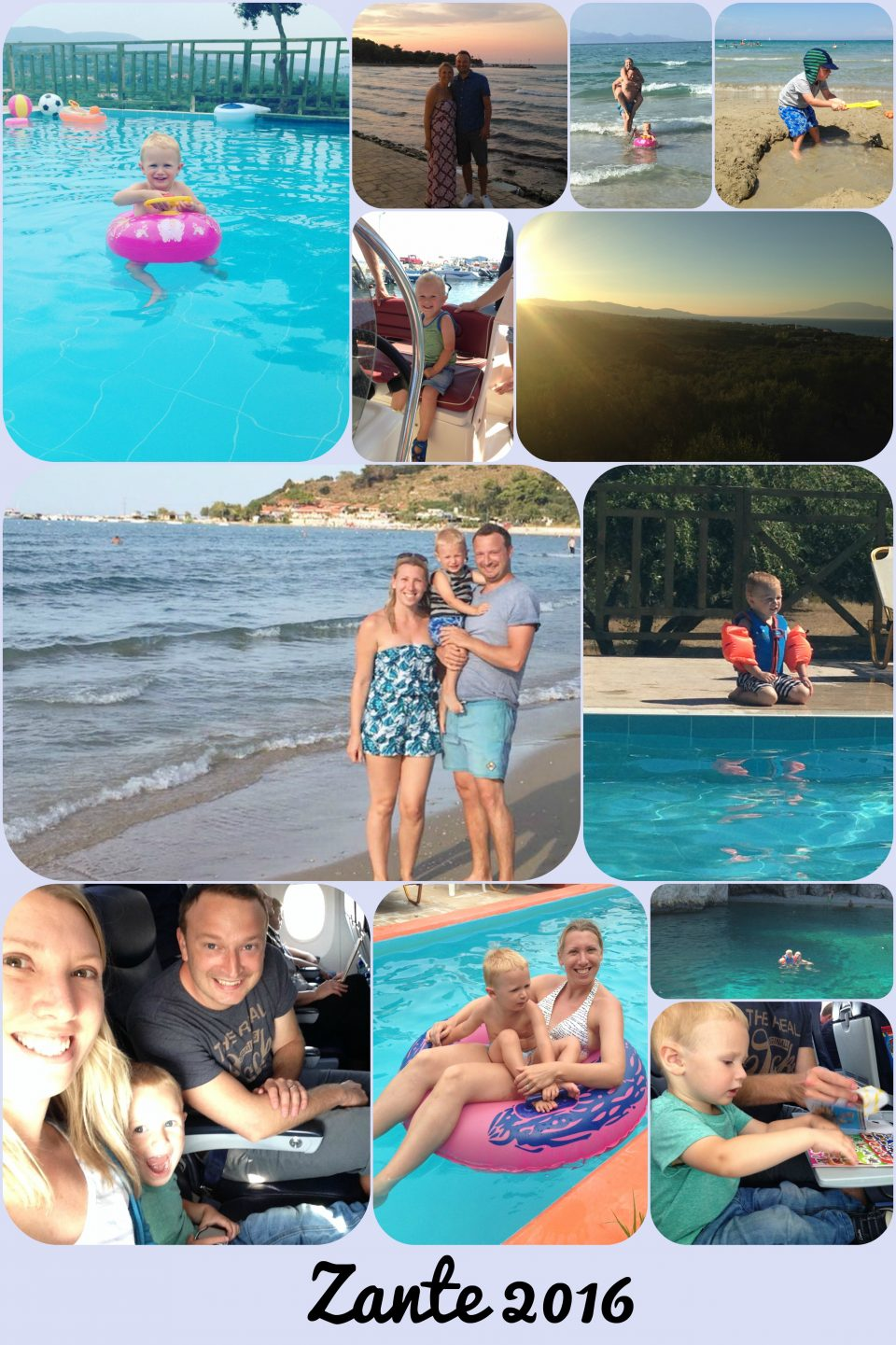 collage of our holiday in Zante for our top travel must-haves you must have a camera!
