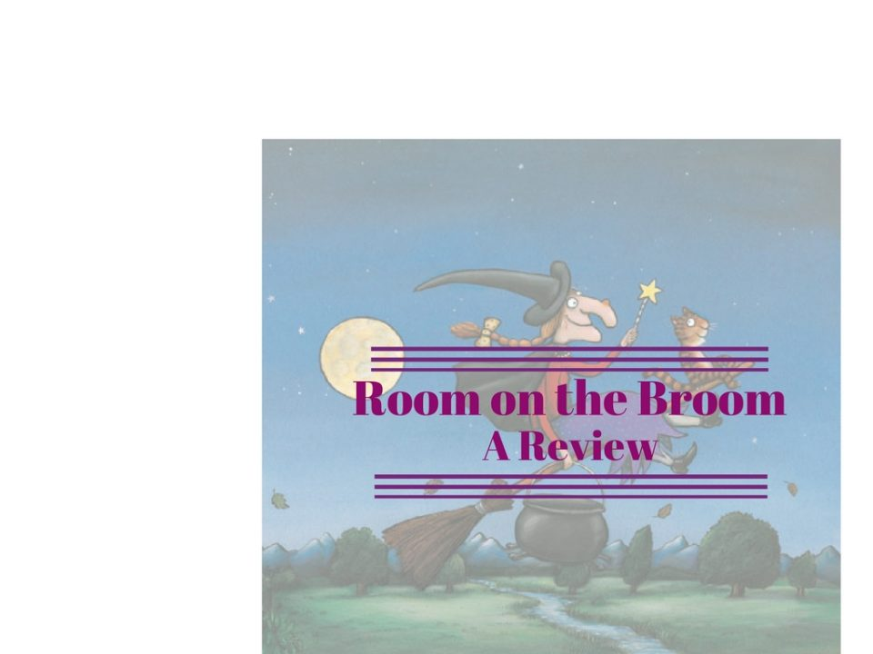room on the broom image with writing across