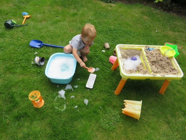 messy play in the garden
