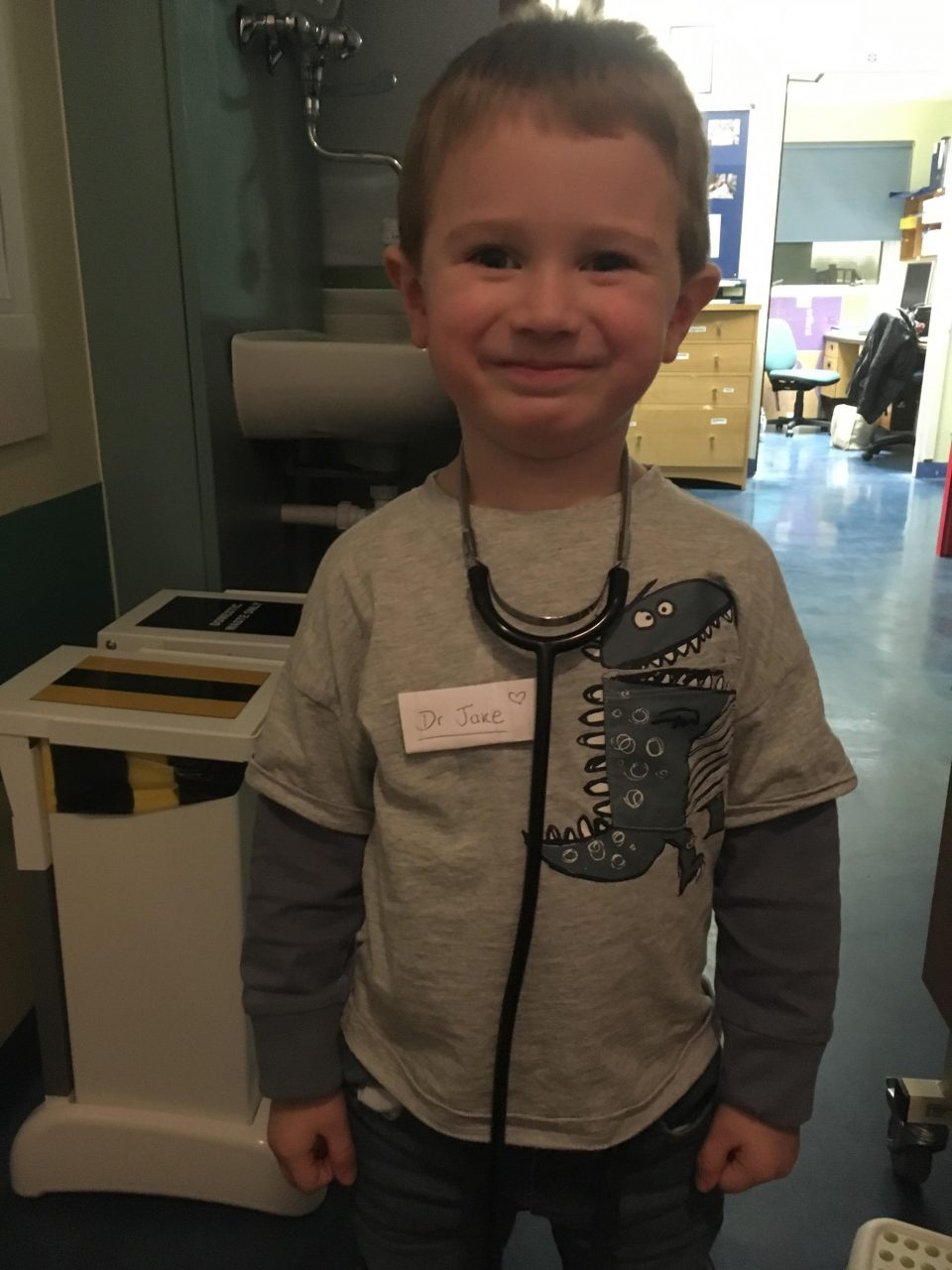 Doctor Jake. The nurses put a stethoscope on him and gave him a name badge