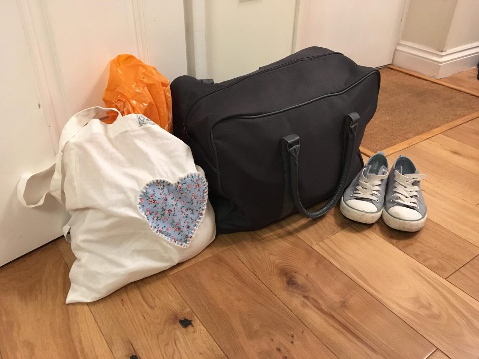 my bags in the hallway of my home ready to go and stay at NICU