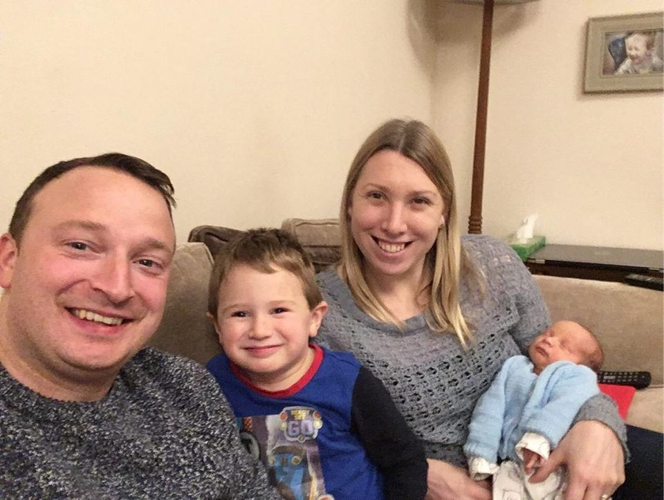 myself, Rob, Jake and baby William finally home on the sofa