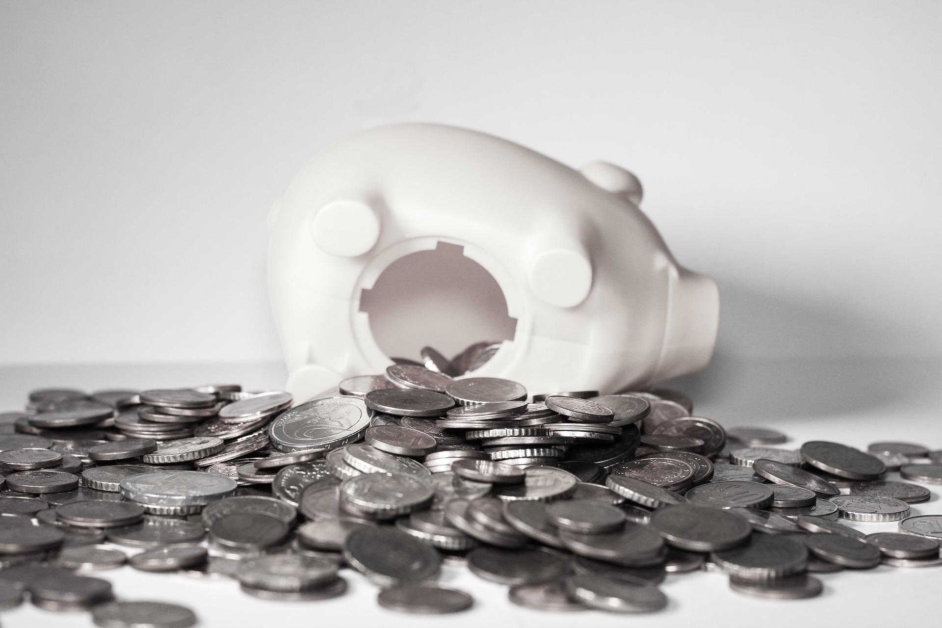 piggy bank knocked over, saving money