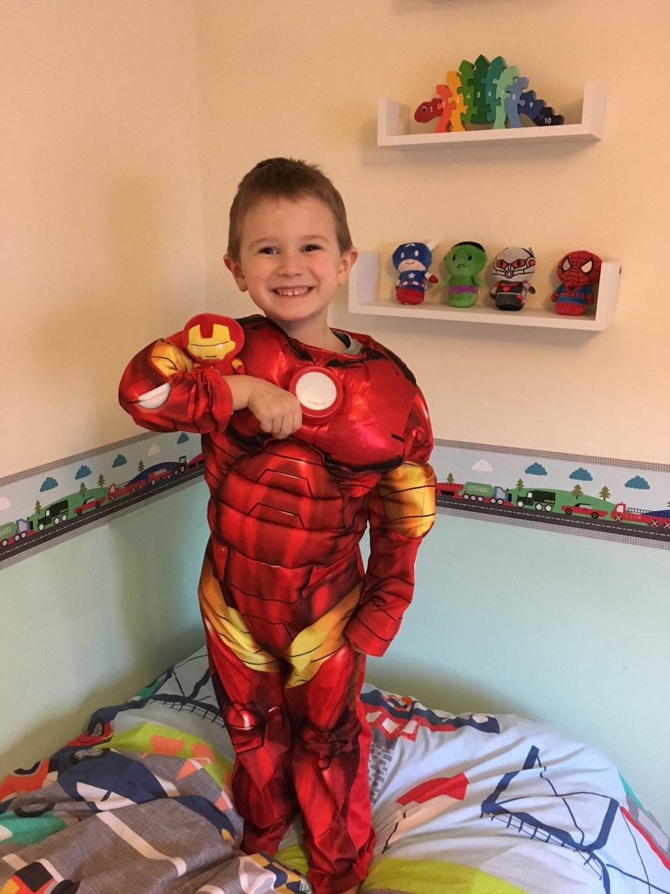 boy dressed as Iron Man