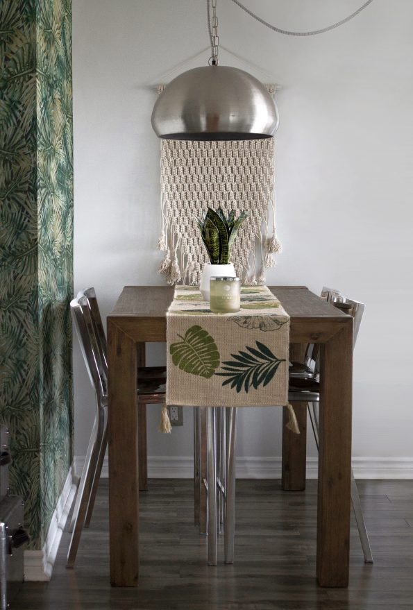 table with tropical table runner