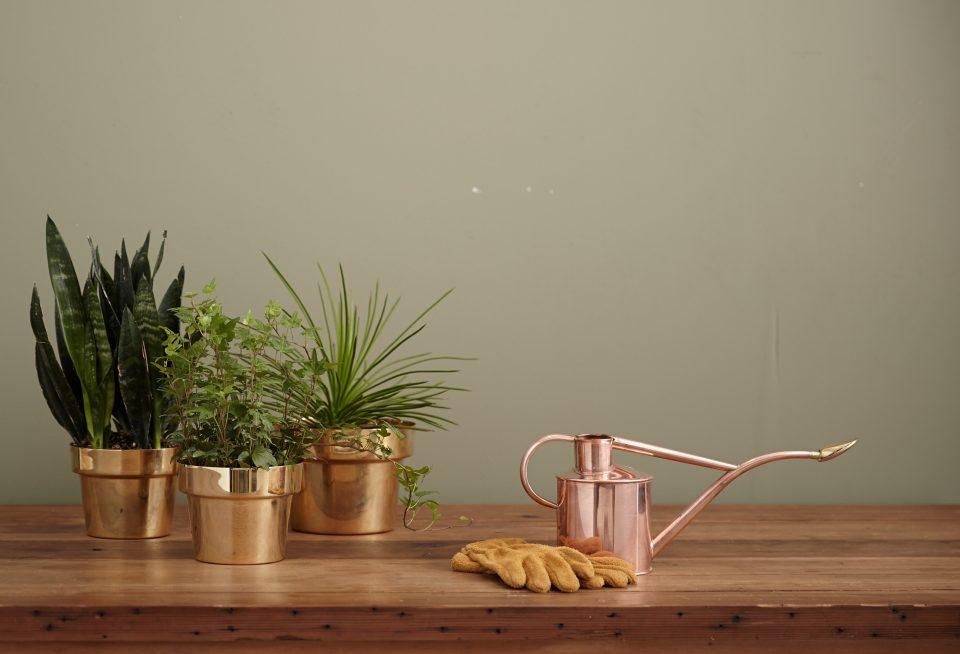 3 brass flower pots