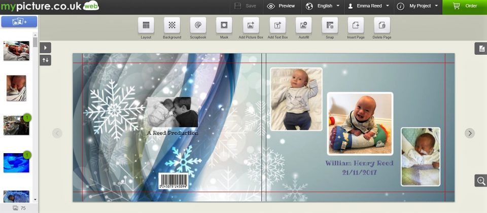 the front and back cover of the photobook across the laptop screen