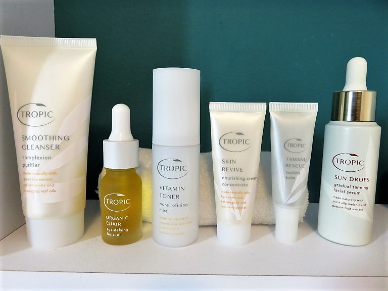 tropic skincare items on a shelf