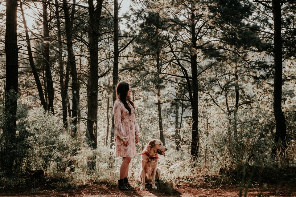 dog and lady in the woods