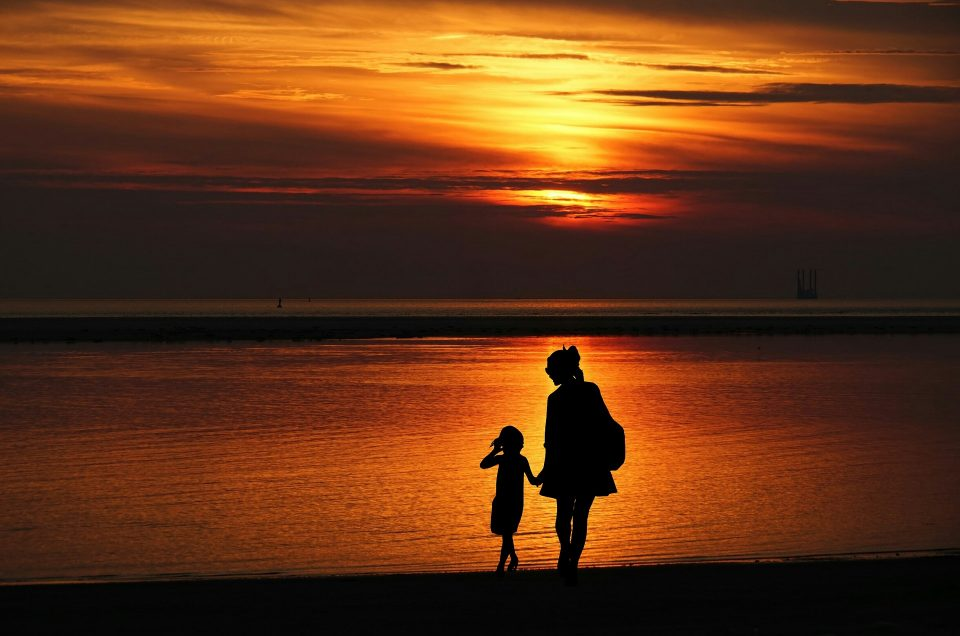 mother and child on holiday