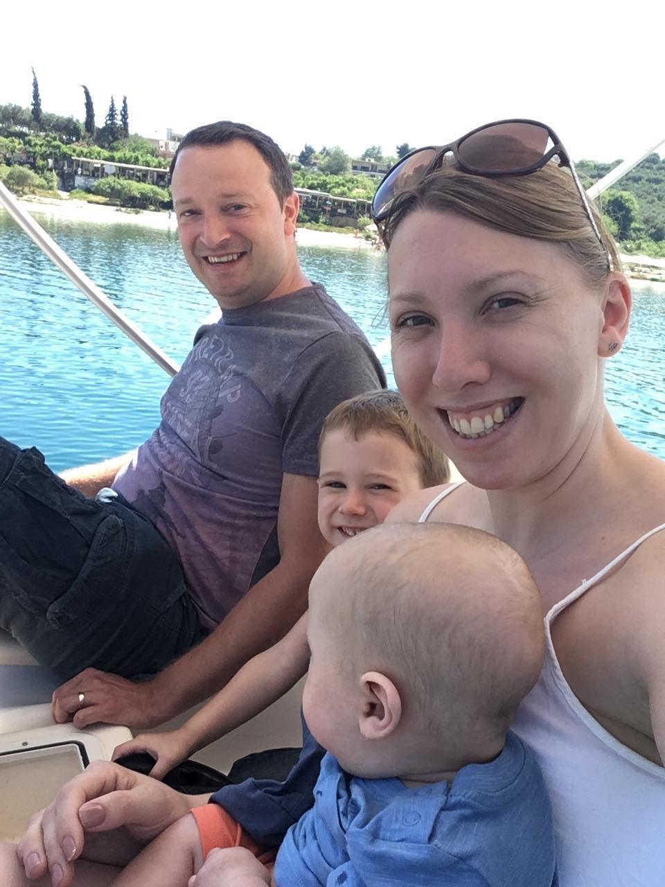 all of us on a pedalo on Lake Kournas
