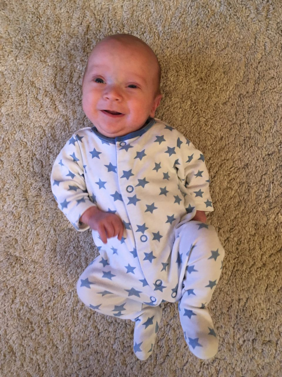 William looking bigger and starting to smile