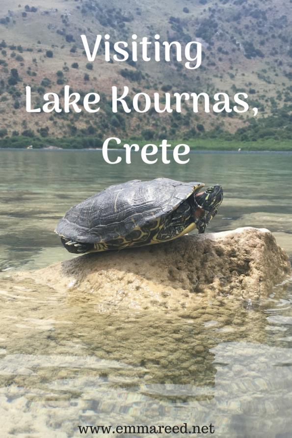 visiting Lake Kournas, Crete, terrapin sat on a rock