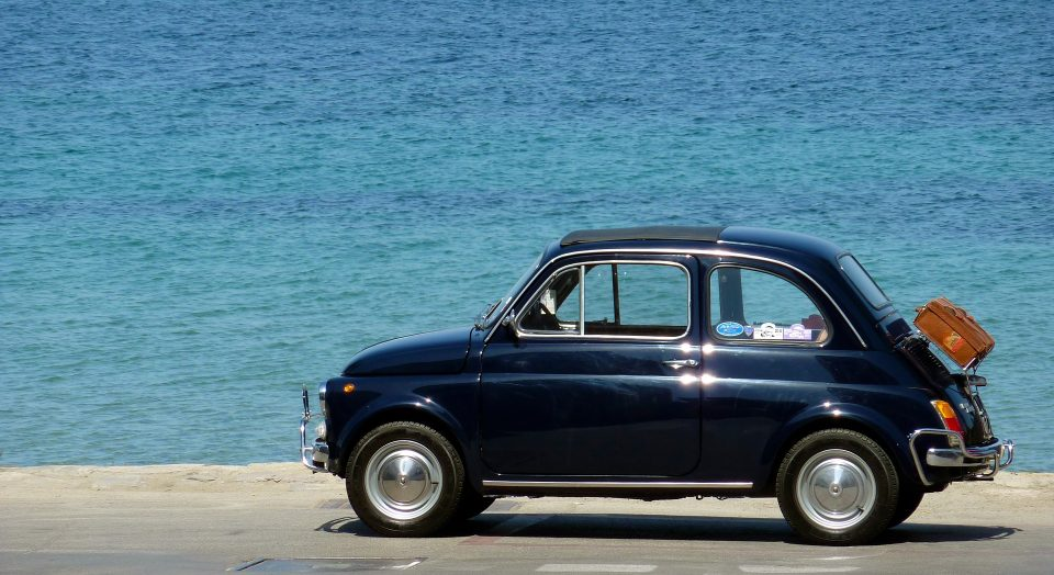 car by the sea