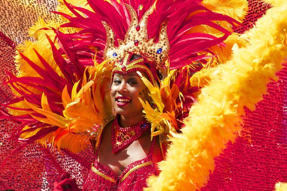 lady in carnival dress in a world festival