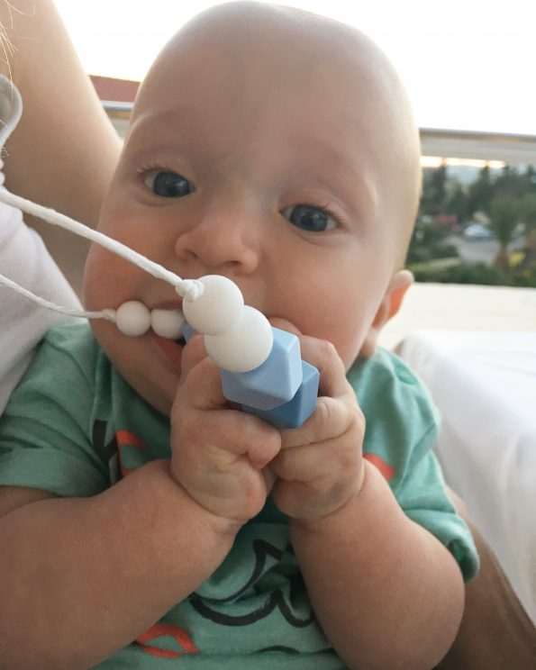 william chewing on a teething necklace