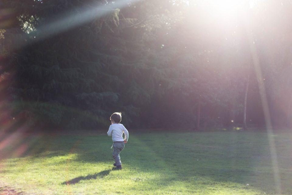 child in a safe garden