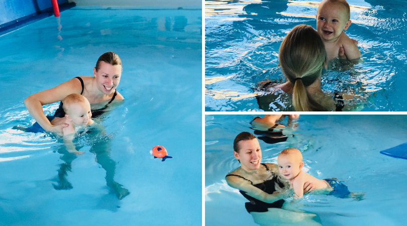 three images of mum and baby swimming