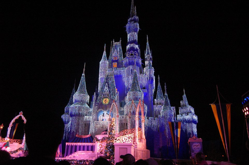 Disney castle lit up at night in Florida