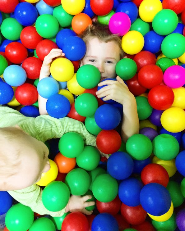 Jake and William in a ball pit