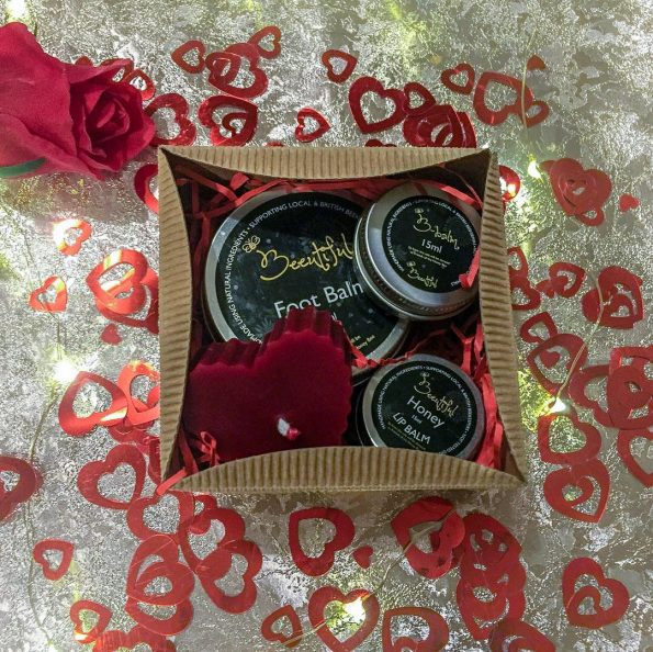 Beeutiful skincare valentines day gift box open showing the products