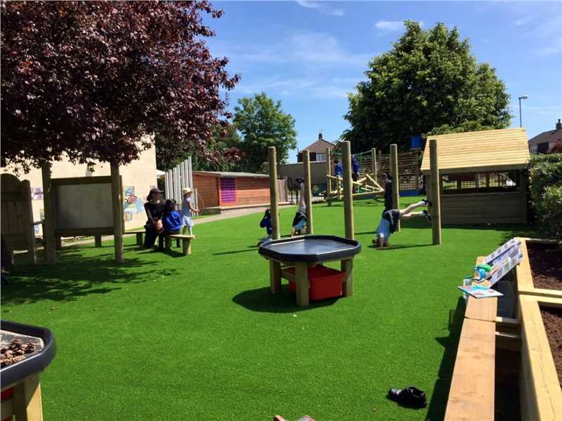 a playground with artificial greass