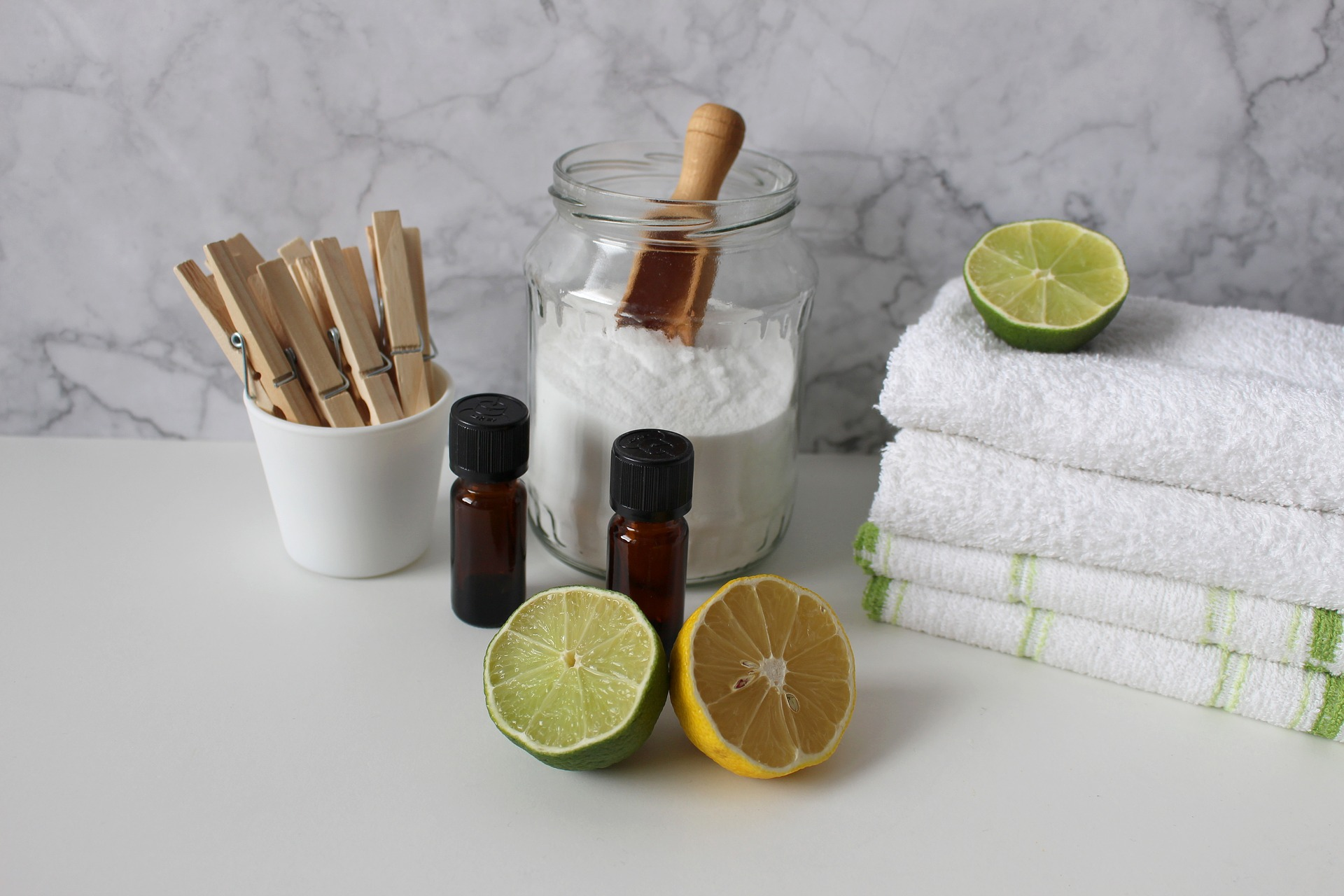 cleaning products, lemon, lime, bicarb and towels