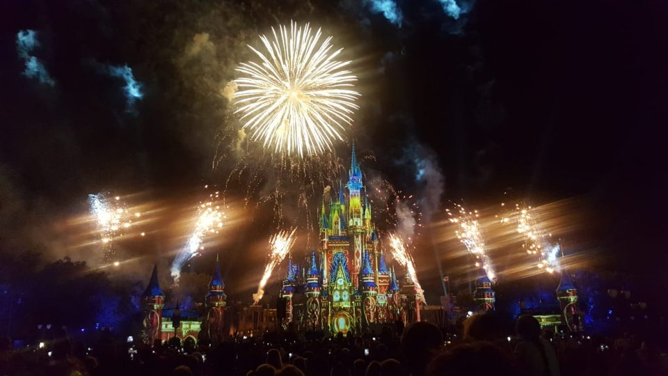 fireworks and light show at Walt Disney World, Florida