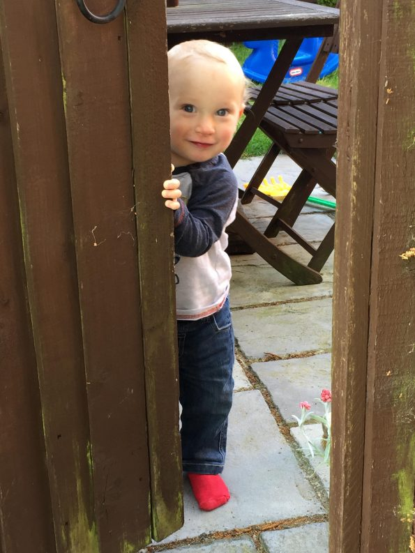 William peeking from behind the wooden garden gate like the crazy toddler he is!