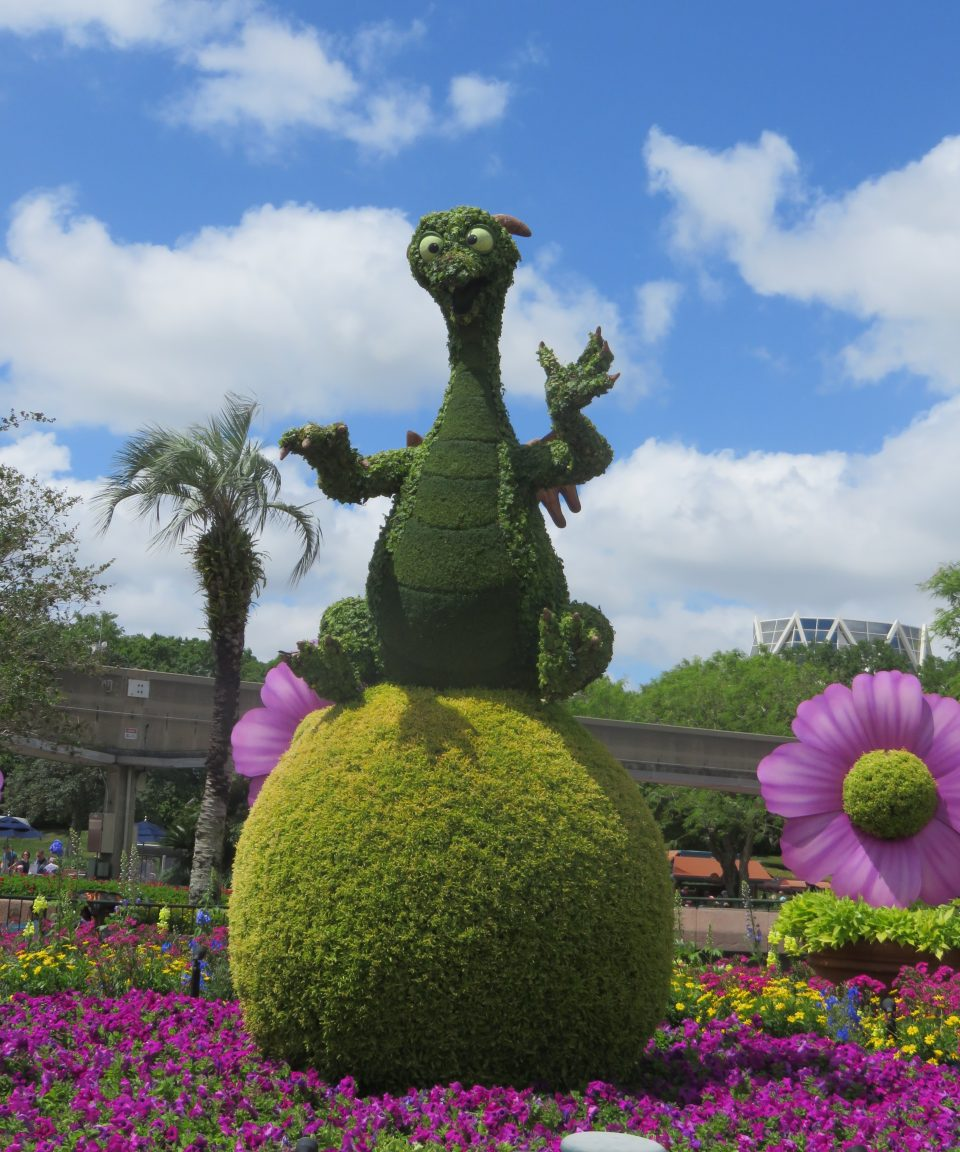 Dragon made from topiary sat on a ball