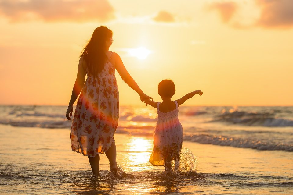 Mum and child in the sea