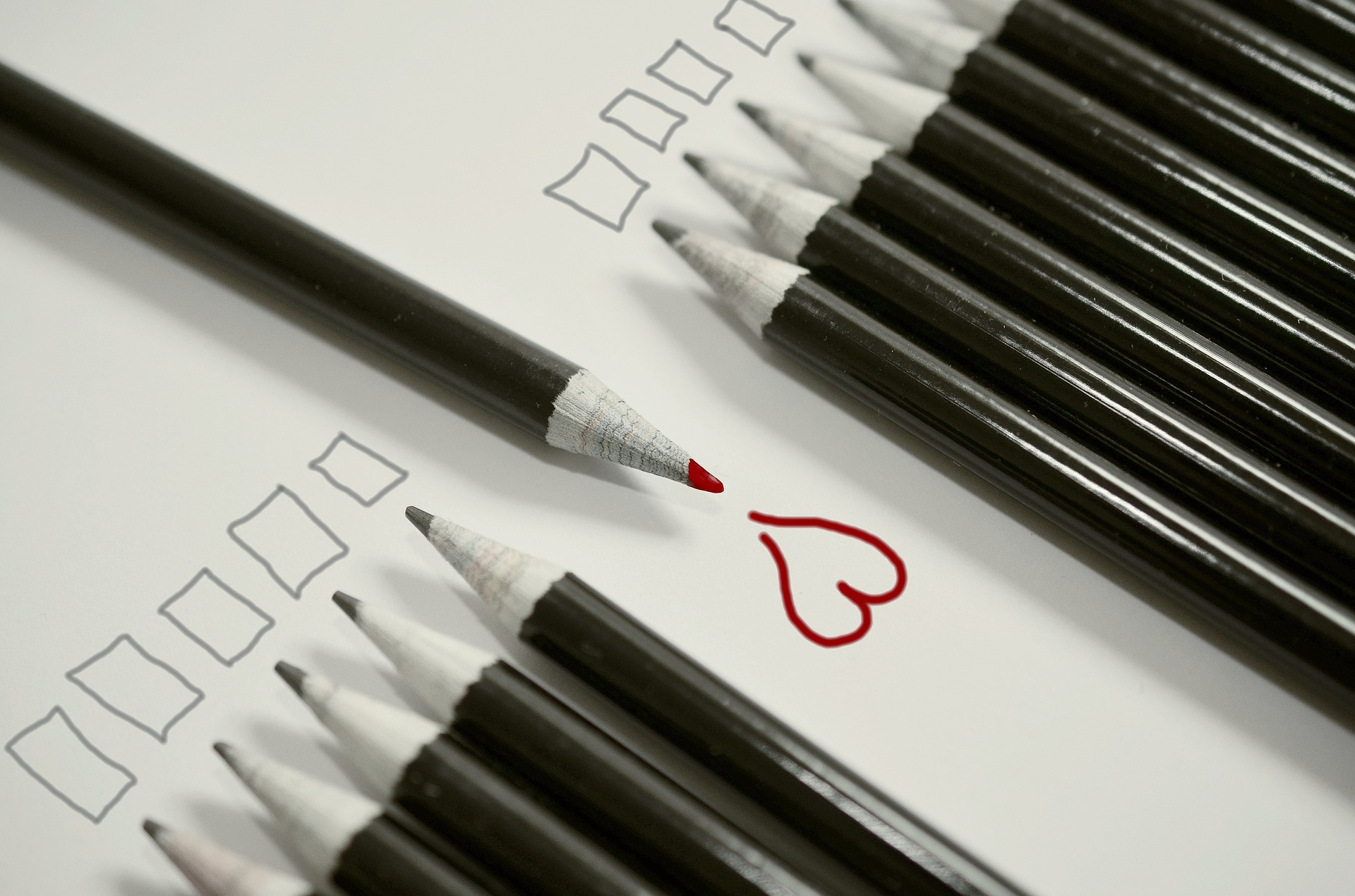a line of perncils facing one way with one facing a different way drawing a heart