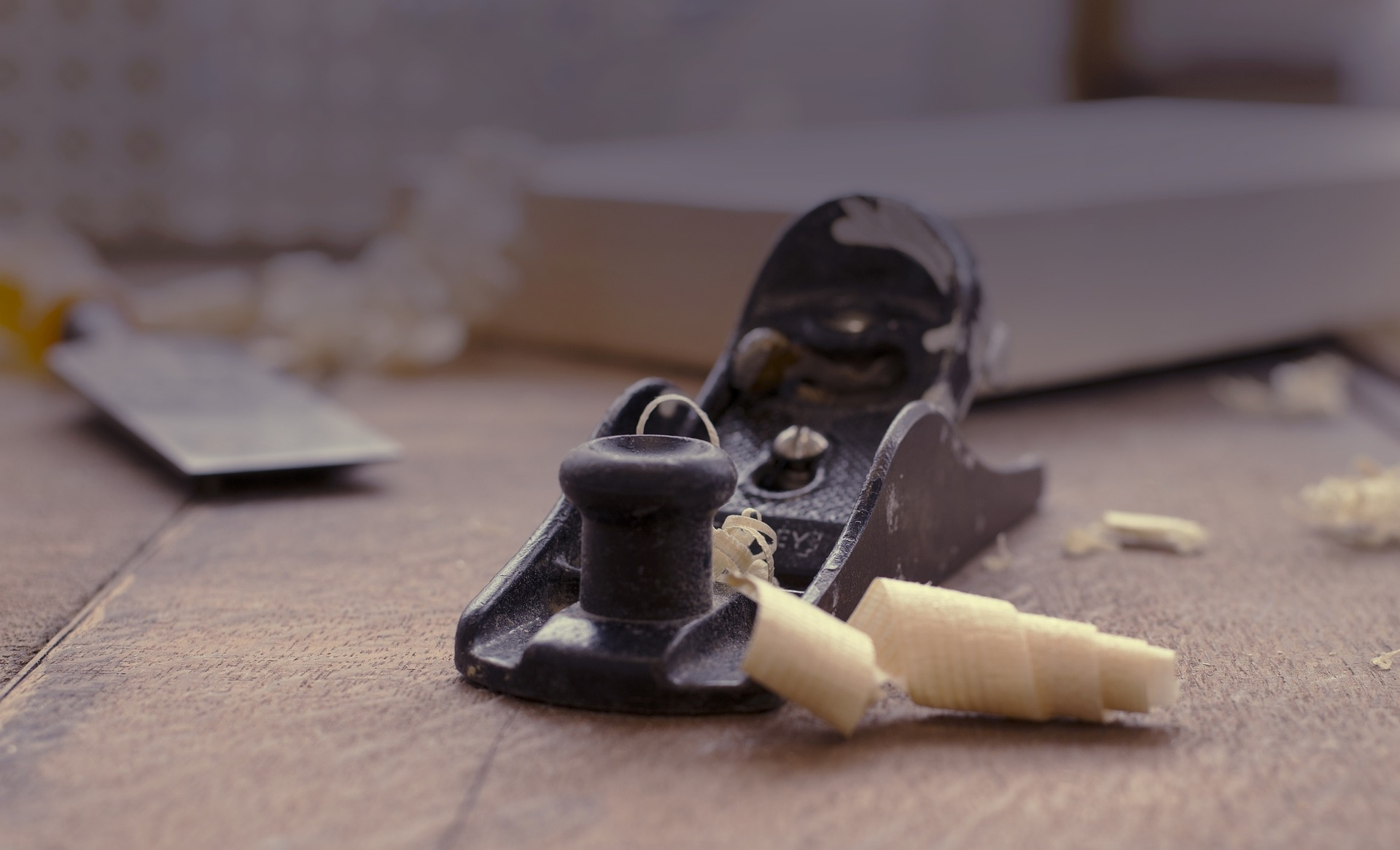 a woodworkers plane and sawdust sprucing used to spruce up a home