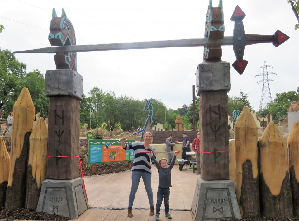 me and Jake cheering we did it at Mighty claws adventure golf