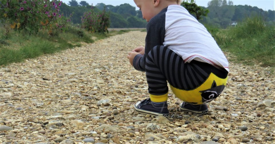William crouching down on a gravel path picking up stones