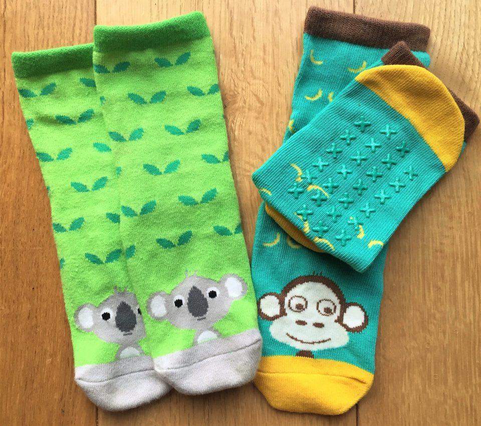 ziggle socks 2 pairs one koala one monkey