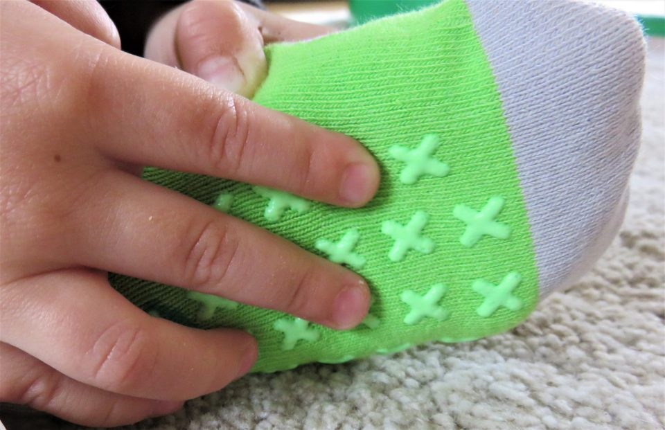 the bottom of the socks with the grip