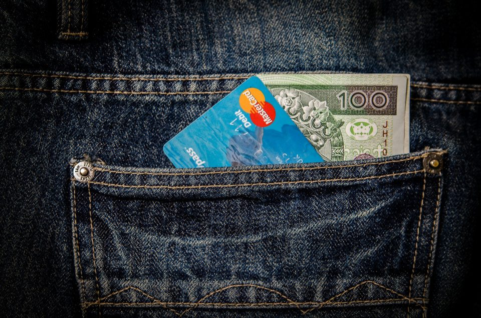 money and card in a back pocket