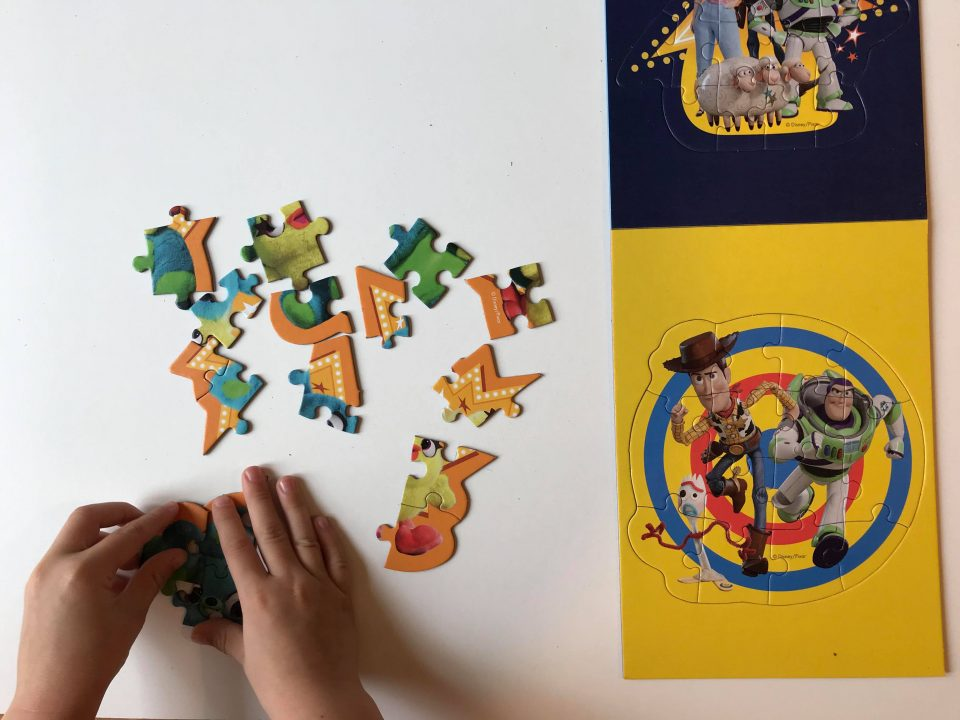 Jake doing the toy story 4 puzzle
