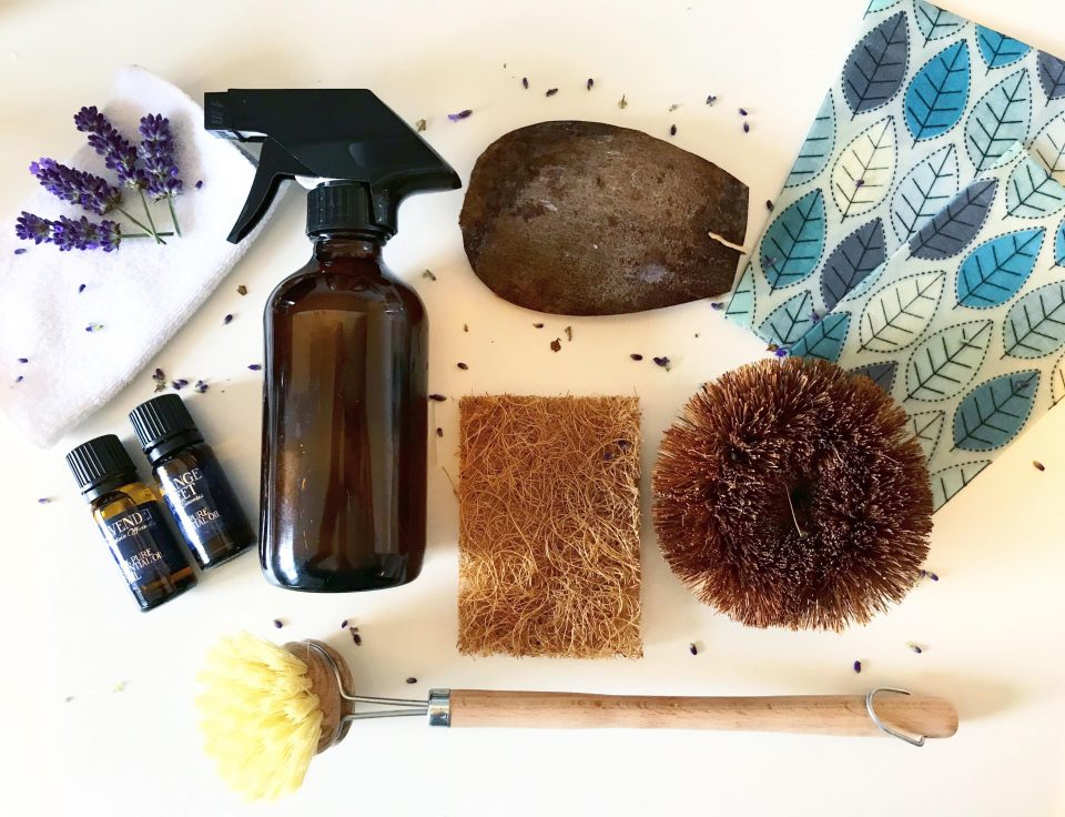 flatlay of eco cleaning products