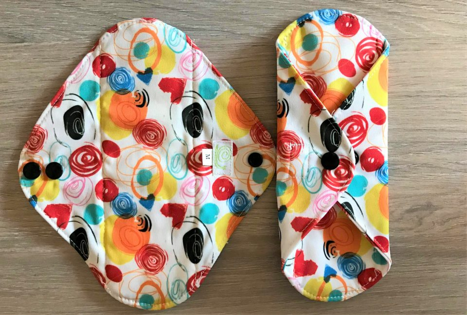 the back of the cloth sanitary pads