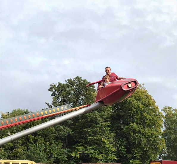 Rob and Jake on the rocket ride