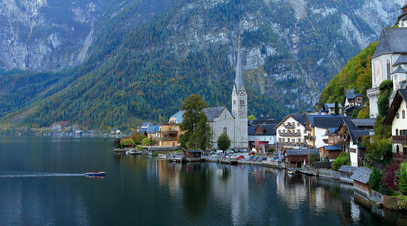 Austria lake and town with a church