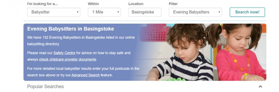 looking for babysitters on childcare.co.uk